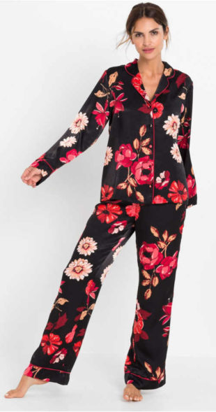 Saténové kabátkové dámské pyžamo s květinovým potiskem