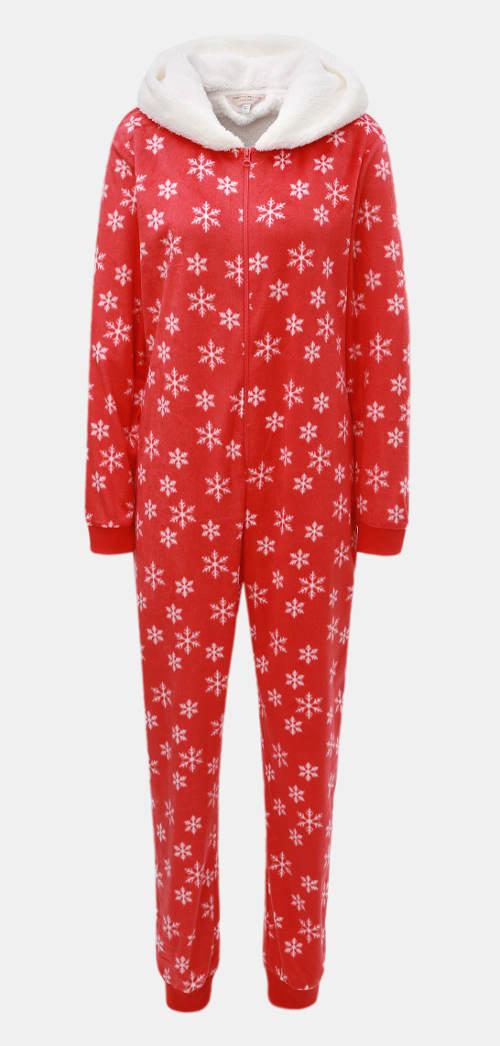 Vánoční pyžamový overal s motivem vloček