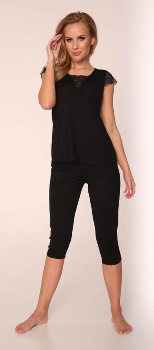 Černé capri pyžamo s krajkou na rukávech