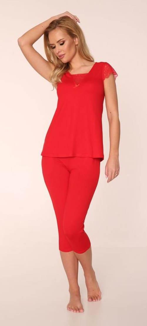 Červené dámské capri pyžamo