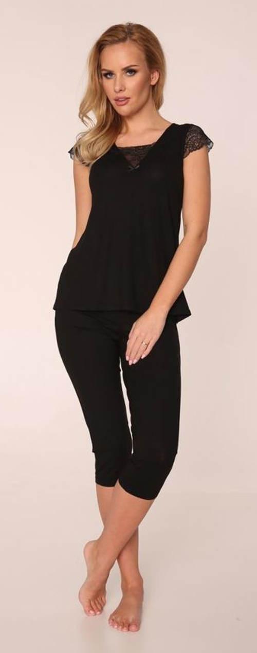 Jednobarevné černé dámské pyžamo