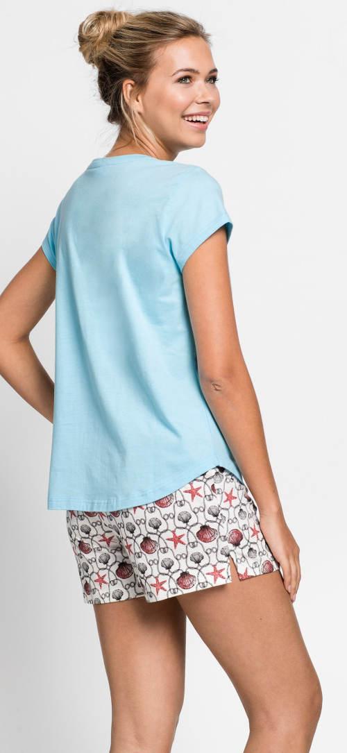 Krátké dámské pyžamo s modrým tričkem