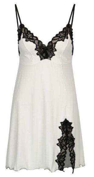 Bílá dámská košilka ozdobená černou květinovou krajkou