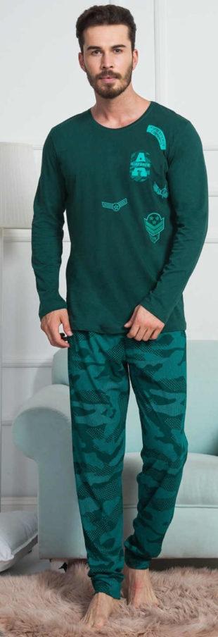 Pánské zelené pyžamo s maskáčovým kalhotami