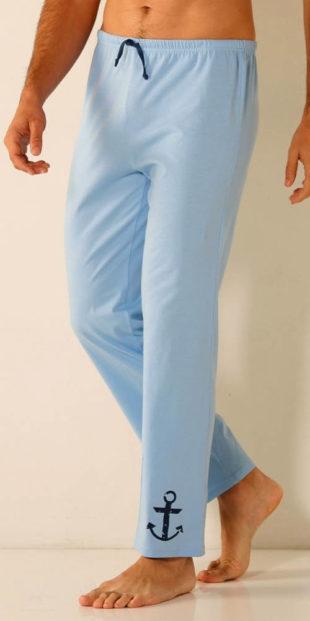 Bleděmodré pánské pyžamové kalhoty