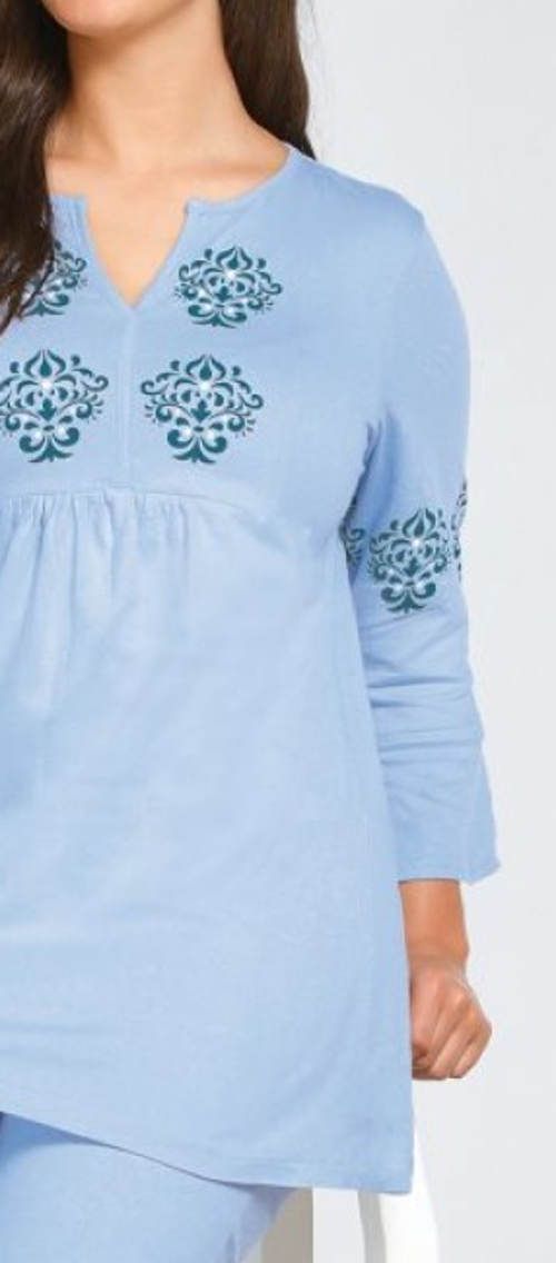 Dámské tunikové pyžamo s 3/4 rukávy