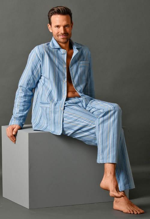 Klasické pánské flanelové košilové pyžamo