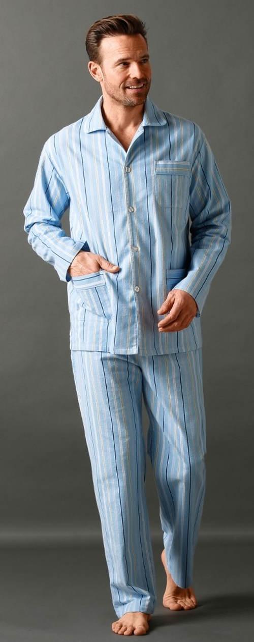 Modré kabátkové pánské pyžamo