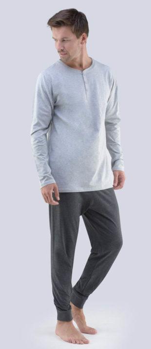 Pánské úpletové pyžamo s dlouhým rukávem