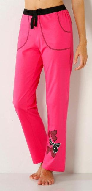 Růžové pyžamové kalhoty moderního střihu