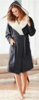 Teplý flísový dámský župan s kapucí