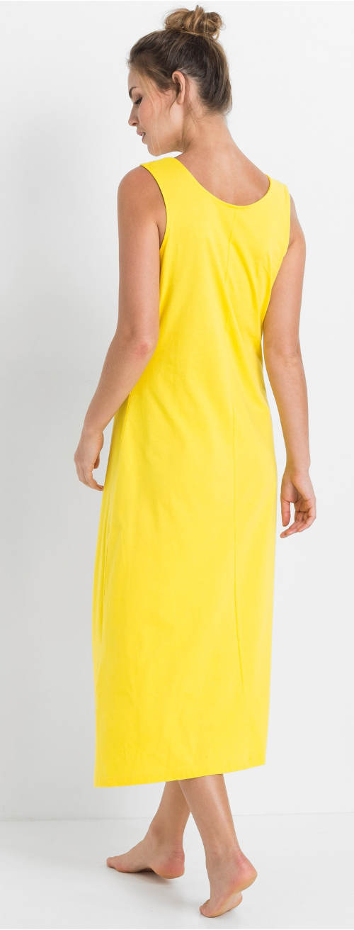 Dlouhá žlutá dámská noční košile