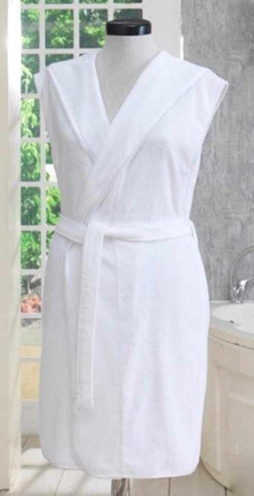 Luxusní bílý bavlněný župan s kapucí