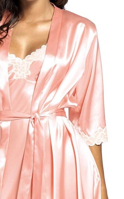 Růžový kimono župan s tříčtvrtečními rukávy