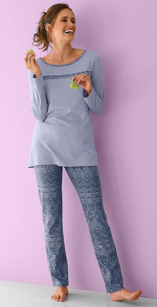 Dlouhé bavlněné pyžamo pro plnoštíhlé