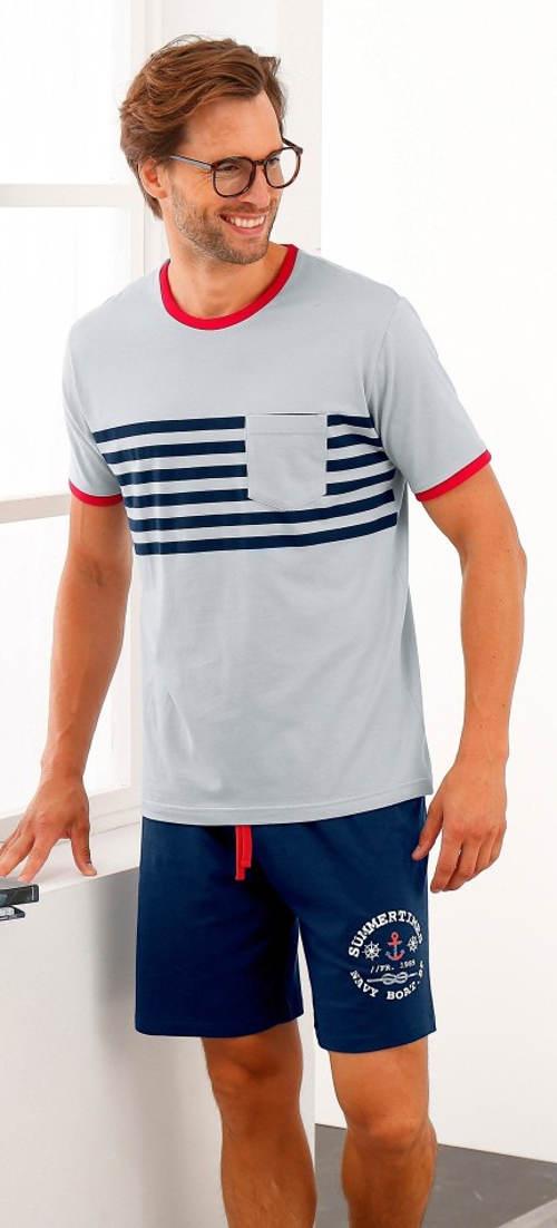 Krátké pánské pyžamo v námořnickém stylu
