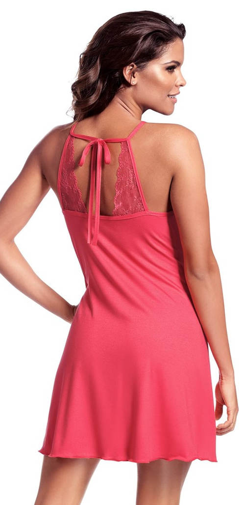 Krátká růžová noční košilka s krajkou a vázačkou na zádech