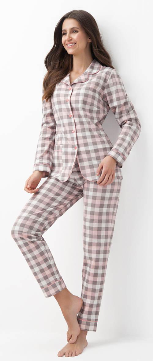 Dámské kabátkové kostkované pyžamo