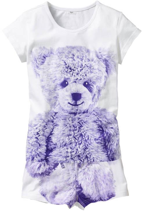 Dívčí kraťáskové pyžamo s plyšovým medvídkem