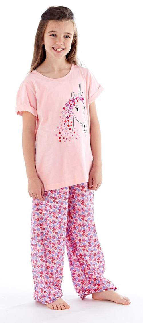 Holčičí pyžamo s krátkým rukávem a dlouhými kalhotami