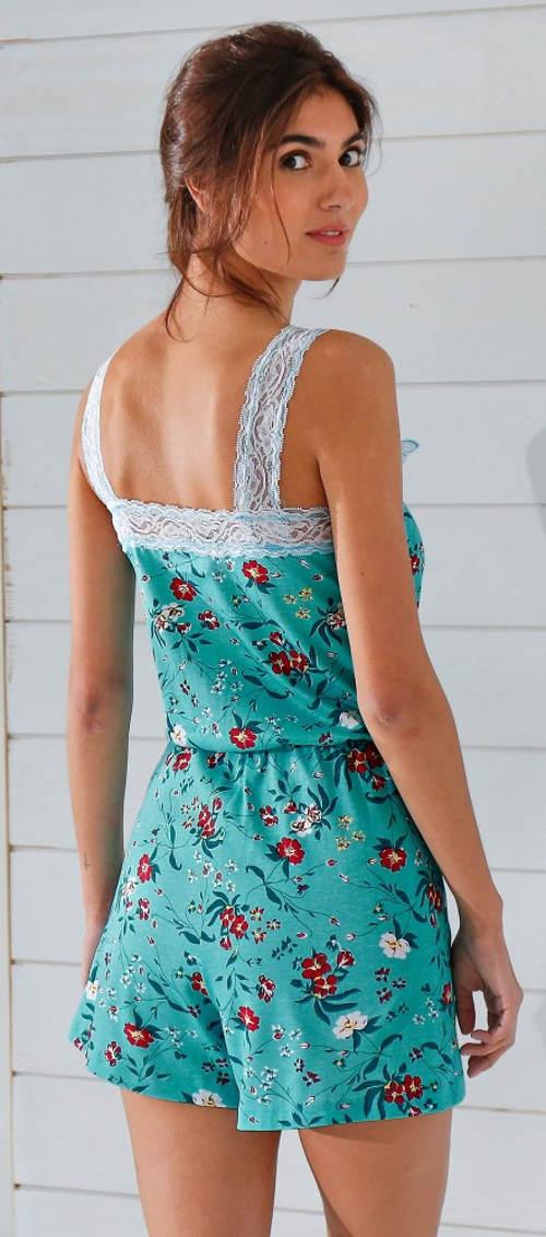 Letní pyžamo s krajkovými ramínky