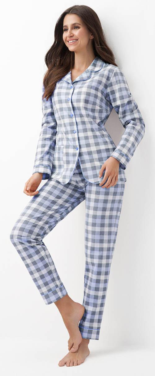Modré dámské karované pyžamo se zapínáním na knoflíky