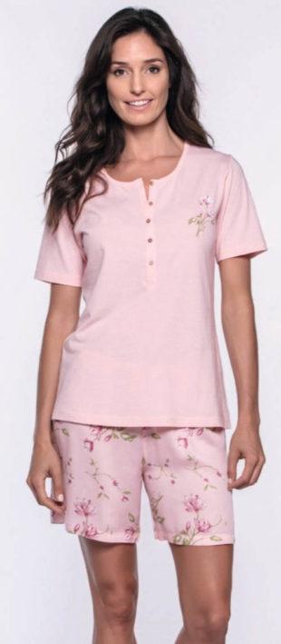 Pohodlné krátké růžové dámské pyžamo Fatima