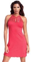 Růžová krajková dámská košilka s ramínky za krk