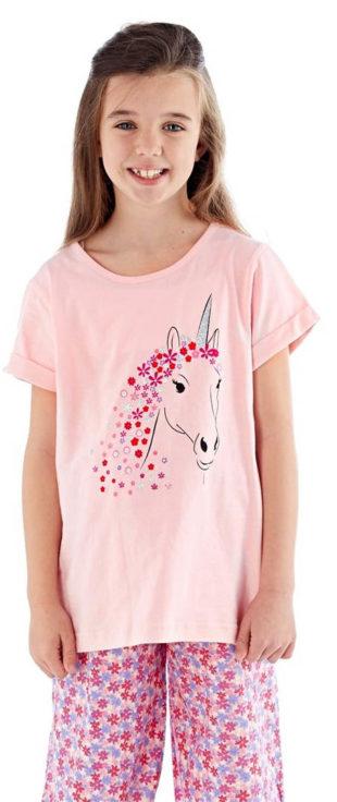 Růžové dívčí pyžamo s jednorožcem