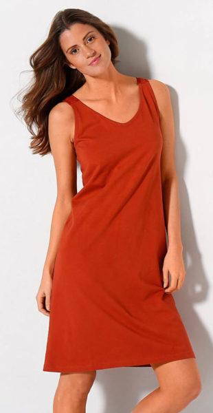 Oranžová dámská noční košilka s krajkou na zádech