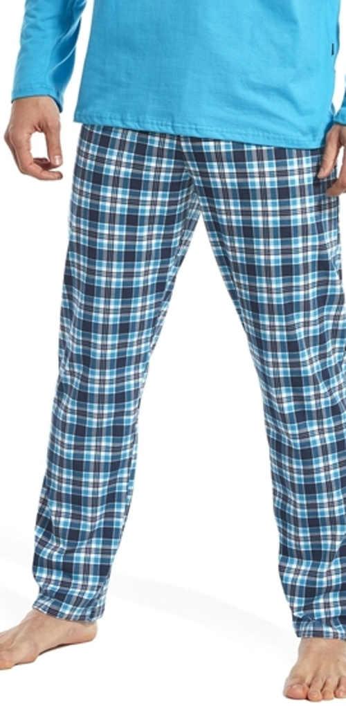 Pánské bavlněné pyžamo s dlouhými kostkovanými kalhotami