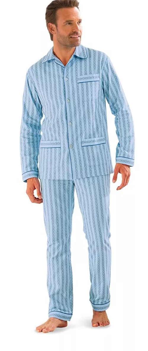 Klasické propínací pánské pyžamo s proužky