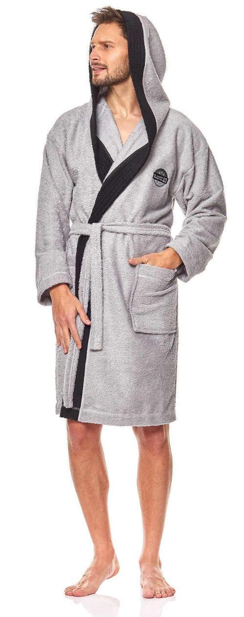 Moderní šedý pánský župan