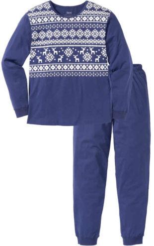 Modré pánské vánoční pyžamo