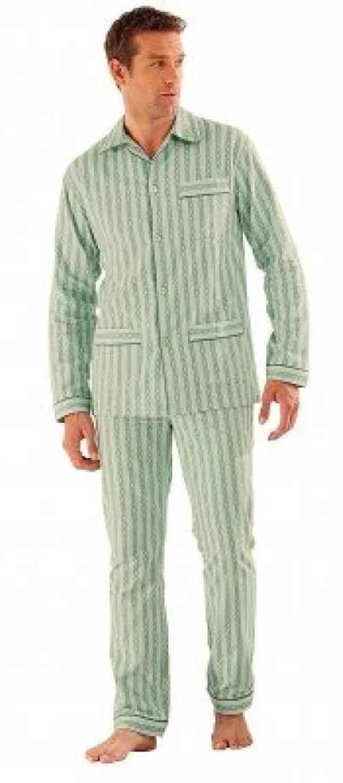 Pruhované zeleno-bílé kabátkové pánské pyžamo