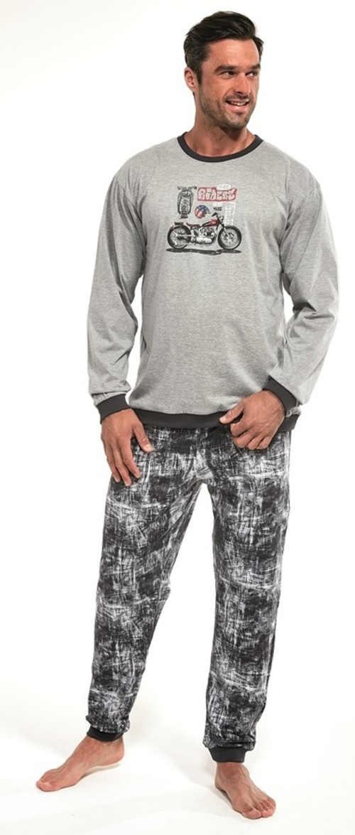 Šedé pánské pyžamo s motorkou