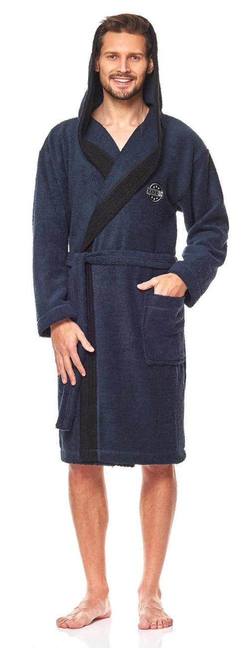 Tmavě modrý pánský župan s kapucí