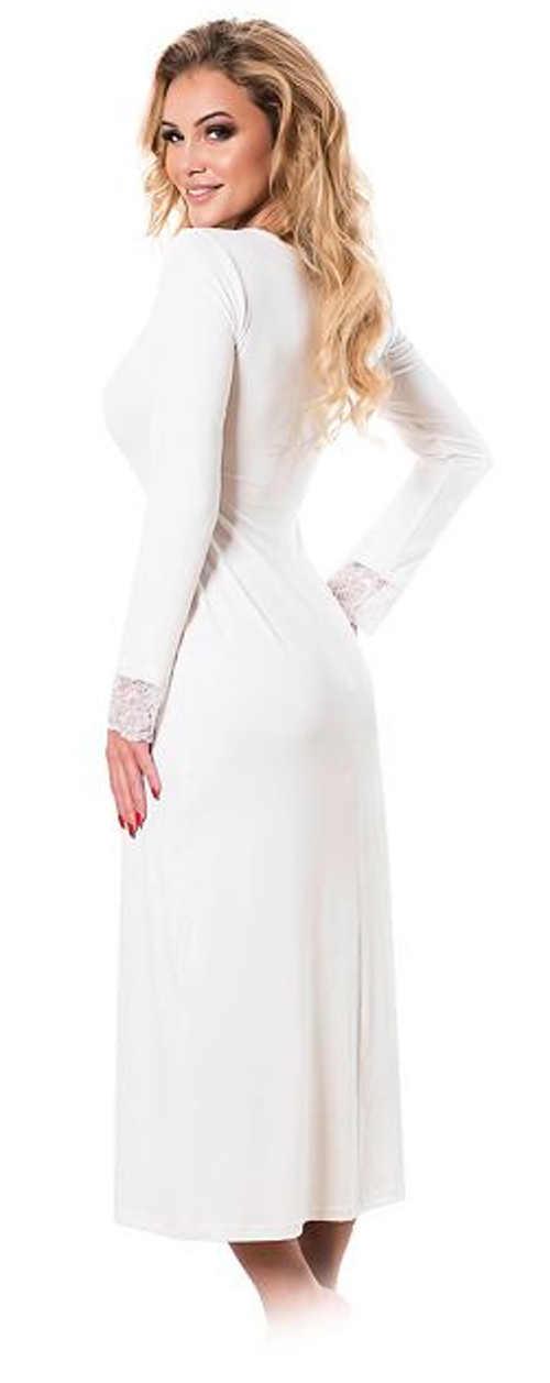 Jednobarevná bílá dlouhá noční košilka s krajkou
