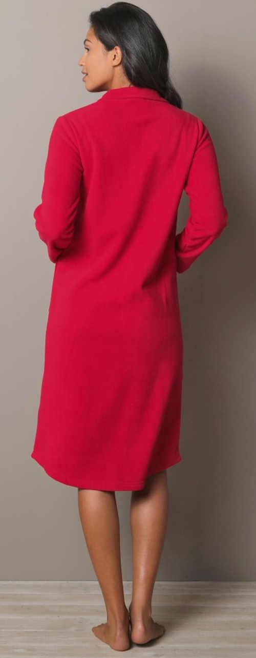 Jednobarevný červený fleecový dámský župan