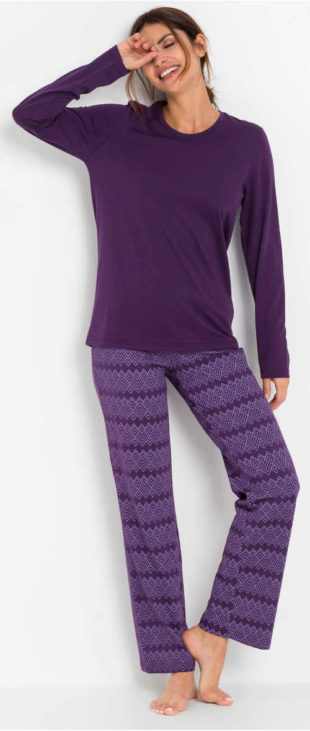 Bavlněné dlouhé dámské pyžamo se šňůrkou na zavazování v pase