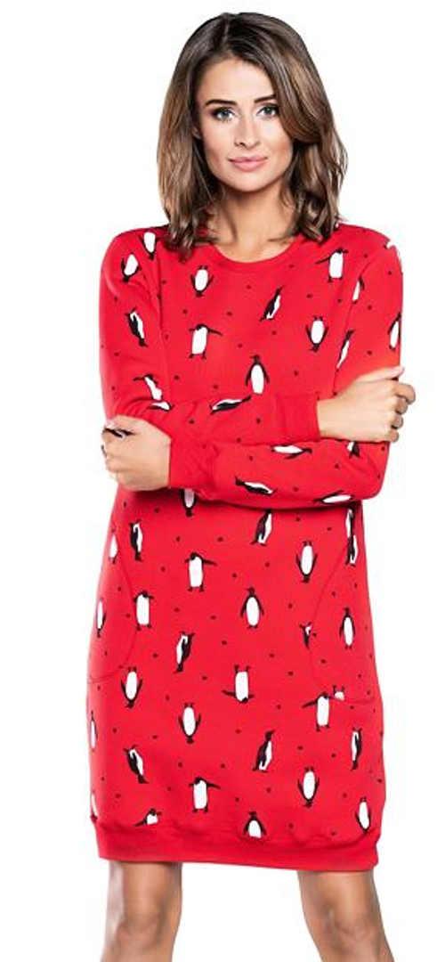 Červená bavlněná noční košile s dlouhými rukávy a potiskem tučňáků
