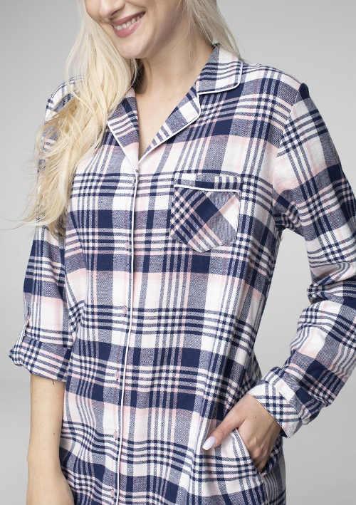 Dámská noční košile s límečkem a náprsní kapsou