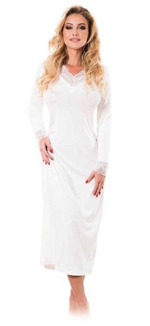 Dlouhá viskózová košilka v smetanově bílé barvě s dlouhými rukávy