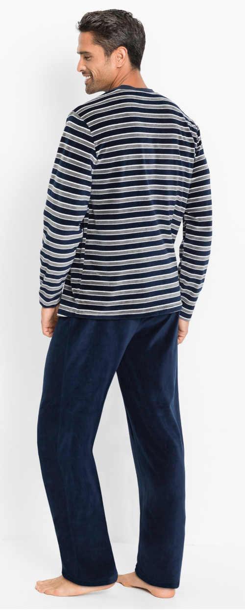 Dlouhé pánské pyžamo s pruhovaným horním dílem
