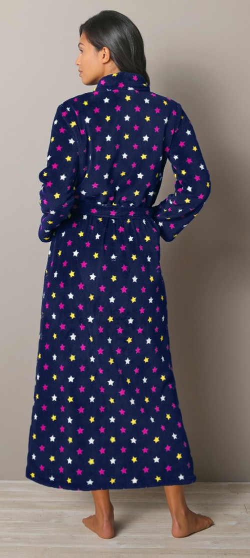 Dlouhý fleecový dámský župan s hvězdičkami