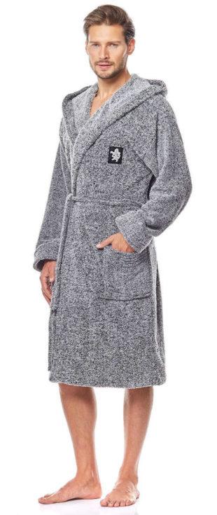 Dlouhý teplý pánský župan s kapucí