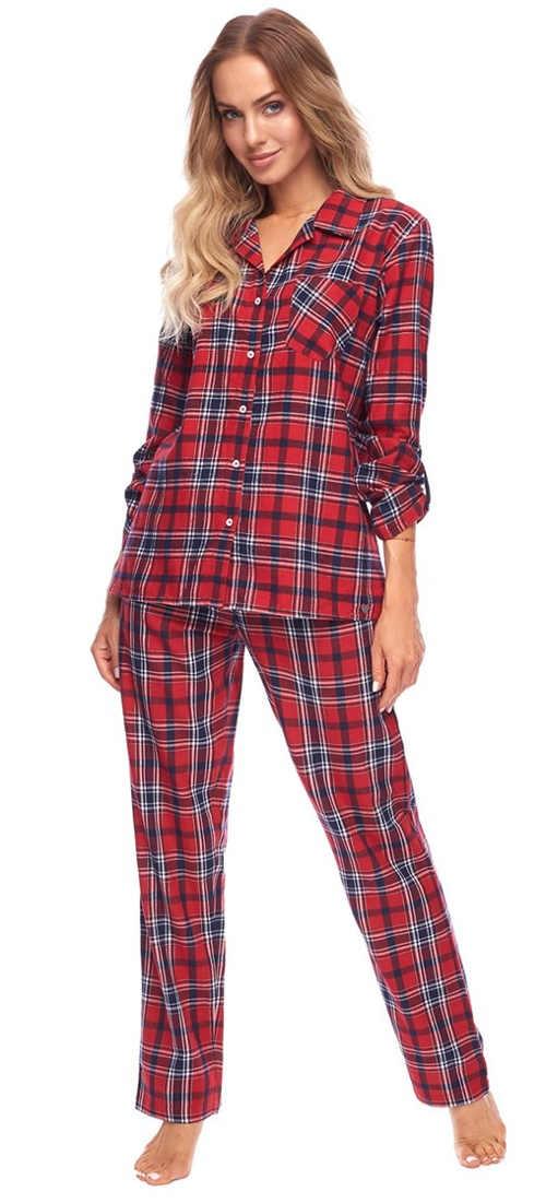 Kostkované flanelové dámské pyžamo se zapínáním na knoflíky