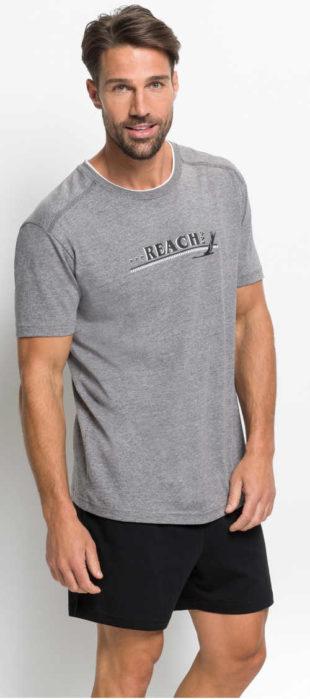 Levné pánské pyžamo tričko s krátkým rukávem a šortky