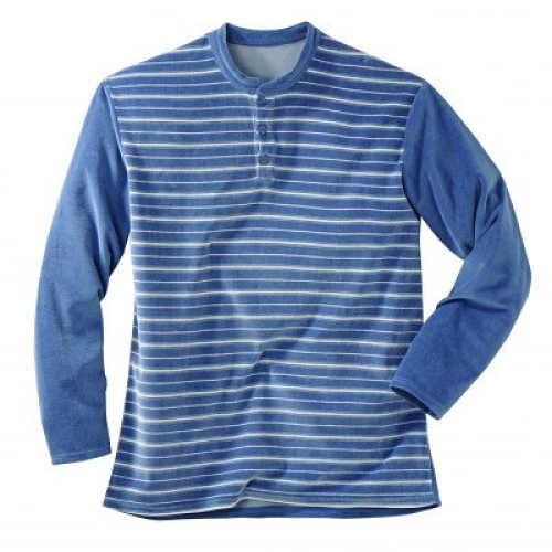 Modré pánské teplé pyžamo s proužkem