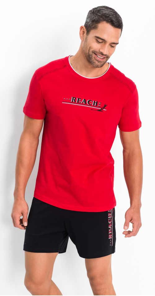 Pánské pyžamo červené tričko černé šortky